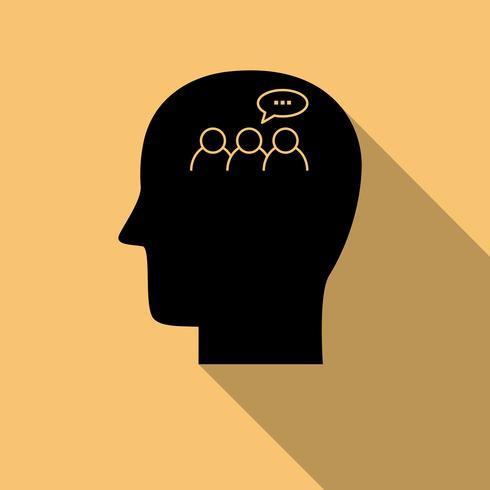 Menselijk hoofd zwart pictogram, discussiesymbool met lange schaduw vector