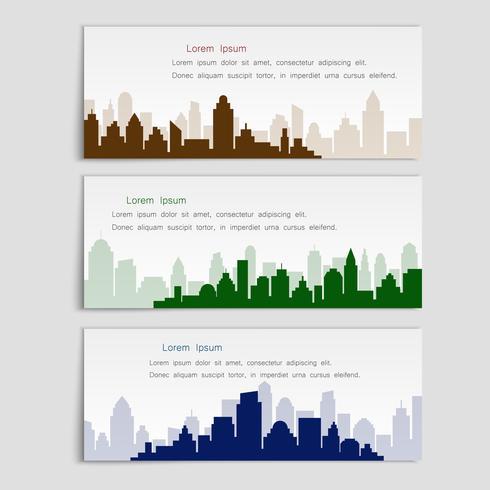 Set van vector banners met stad silhouetten, vlakke stijl