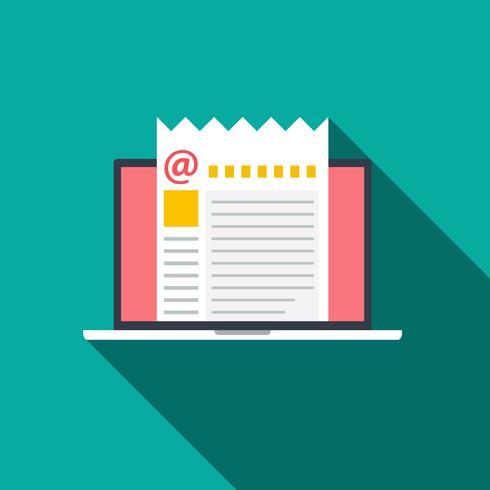 Vlakke stijl icoon van concept E-mailmarketing met lange schaduw. vector