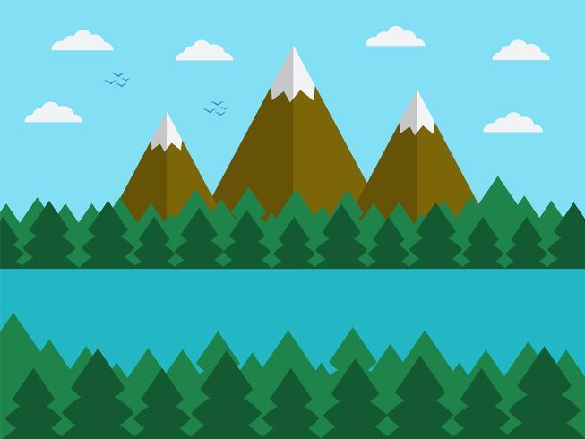 Natuurlijk landschap in de vlakke, eenvoudige stijl met bergen vector