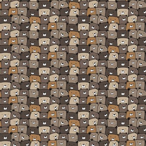 Hand getrokken beren Vector patroon achtergrond. Leuke Doodle. Handgemaakte vectorillustratie.