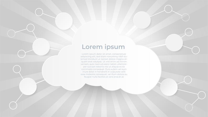 Cloud computing-technologie en big data-concept. Papierkunst met wolken op Starburst-effect of zonnestraal achtergrond. vector