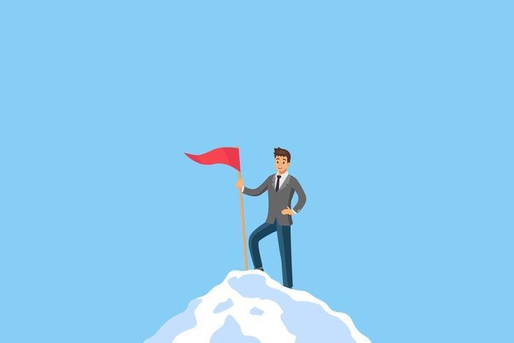 Basis RGBSuccess zakenmanleiding die zich op de bovenkant van berg bevindt. Concept voor succesvolle, prestatie en winnaar manager in zakelijke concurrentie. Platte ontwerpkarakter vector met kopie ruimte.