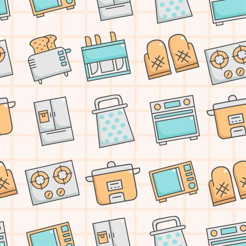 Leuk naadloos patroon met keukengerei vector