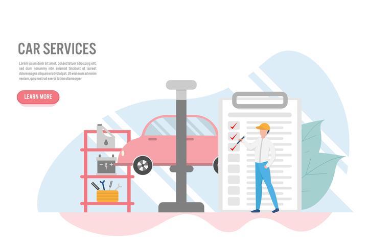 Auto service concept met karakter. Creatief platte ontwerp voor webbanner vector