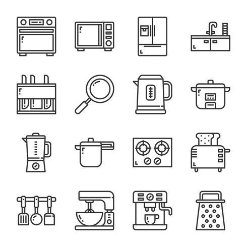 Keukengerei pictogramserie. Vectorillustratie vector