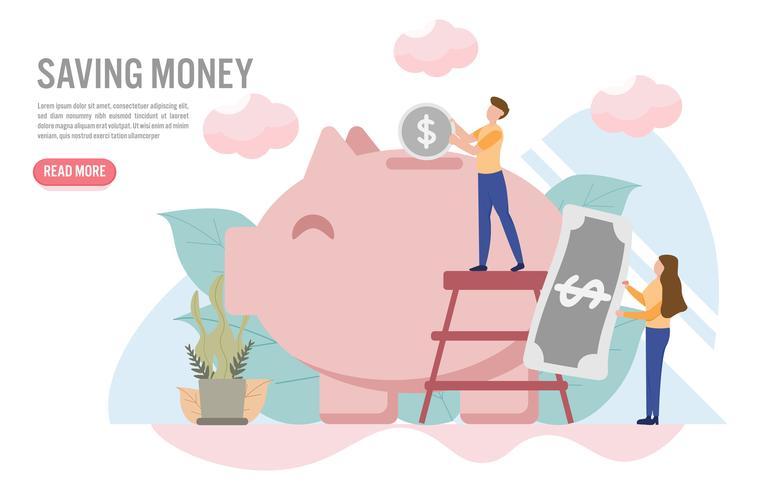 Geld concept opslaan met karakter. Creatief platte ontwerp voor webbanner vector