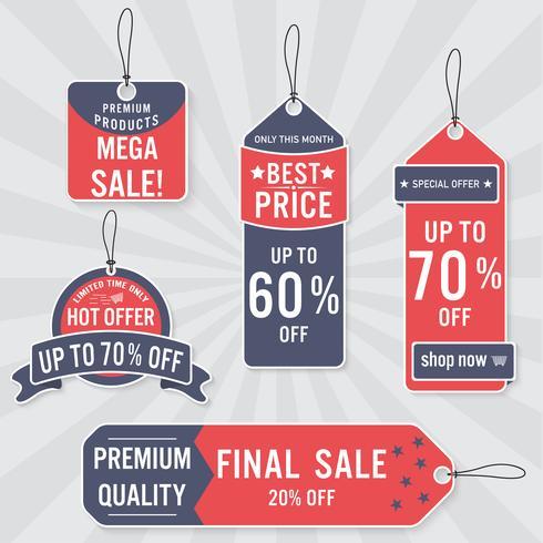 Set van verkoop labels en banner. Retro ontwerp. vector