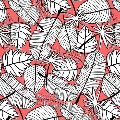 Tropische Patroonachtergrond. Hand getrokken vectorillustratie. vector
