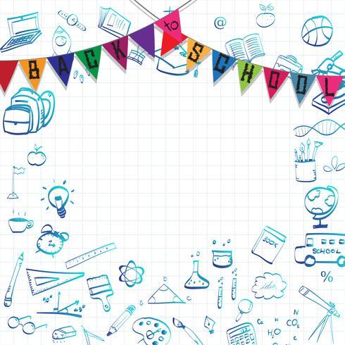 Terug naar school, onderwijs concept achtergrond met lijn kunst pictogrammen en symbolen vector