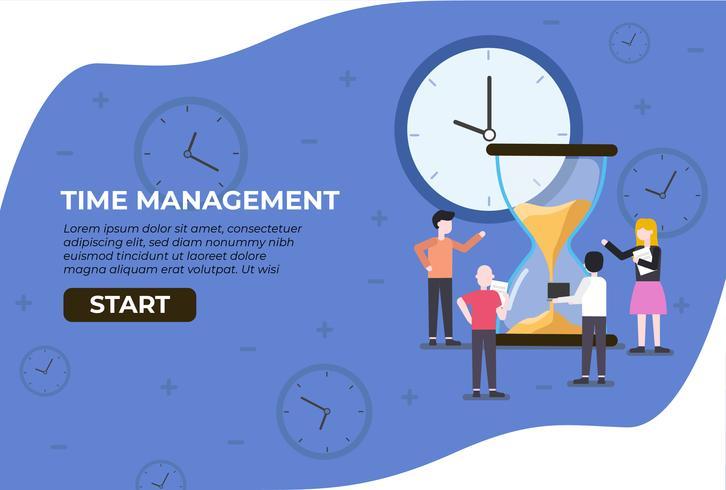 Web Landing Management Tijd vector