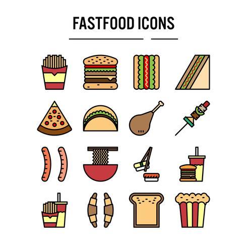 Snel voedselpictogram in gevuld overzichtsontwerp vector