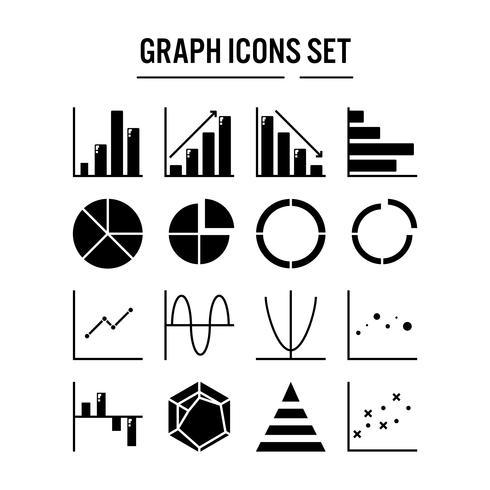 Grafiek- en diagrampictogram in glyph-ontwerp vector