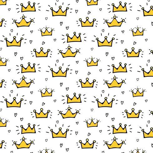 Hand getrokken kroon Vector patroon achtergrond. Vector illustratie.