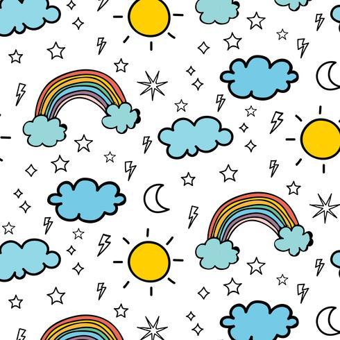 Weer Doodle Vector patroon achtergrond. Vector illustratie.