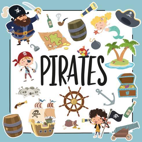 Verschillende elementen met betrekking tot piraten vector