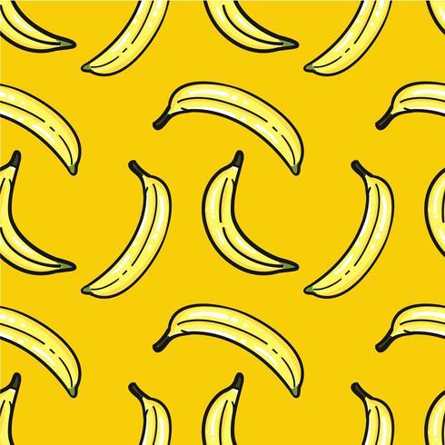 Hand getekend bananen patroon vector