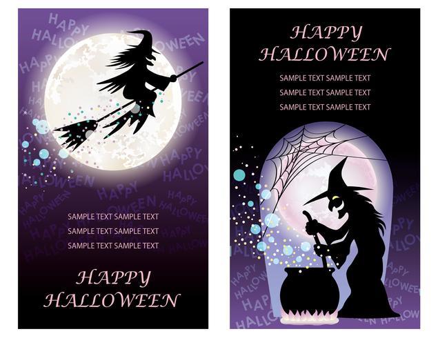 Set van twee Happy Halloween-sjablonen voor wenskaarten met heksen. vector
