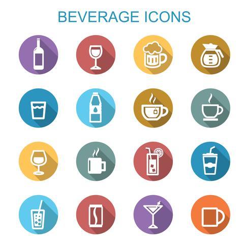 drank lange schaduw pictogrammen vector