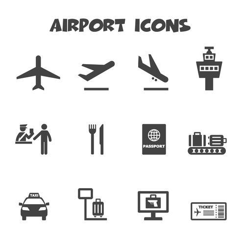luchthaven pictogrammen symbool vector