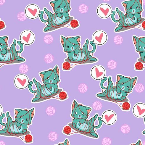 Naadloze schattige kat speelt met garen patroon. vector