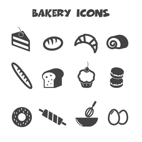 bakkerij pictogrammen symbool vector