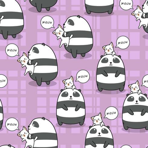Naadloze panda en kat is beste vriend van elkaar patroon. vector