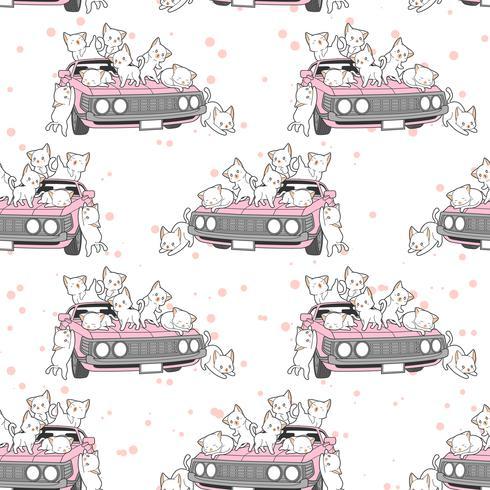 Naadloze getrokken kawaii katten en roze auto patroon. vector