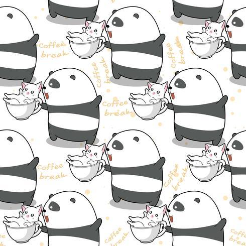 Naadloze panda en kat op tijd om patroon te ontspannen. vector