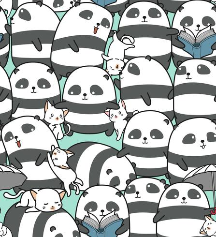 Naadloos panda's en kattenpatroon. vector