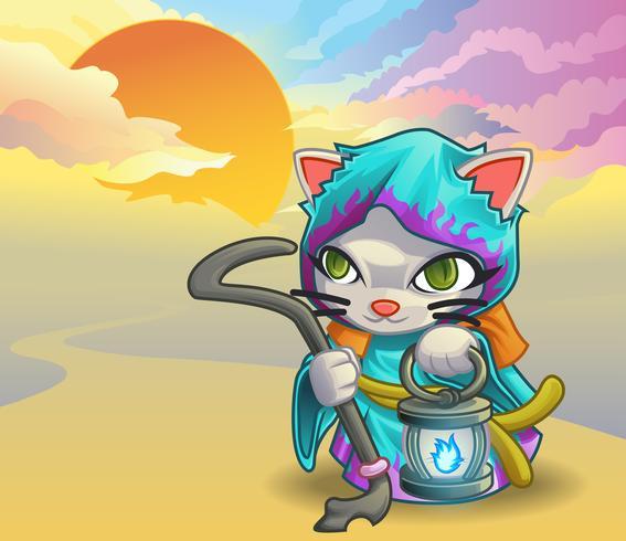 Tovenaar kat karakter in cartoon stijl. vector