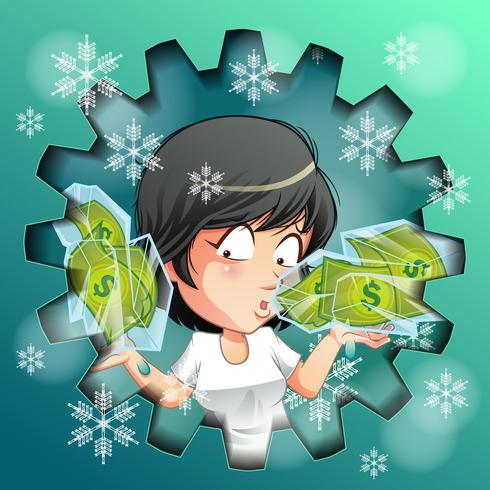 Persoon draagt bevroren geld in ijs. vector