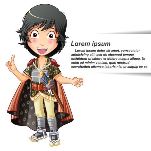 Vector geïsoleerde persoon in samurai-pak.