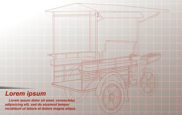 Het overzicht van vrachtdriewieler op achtergrond. vector