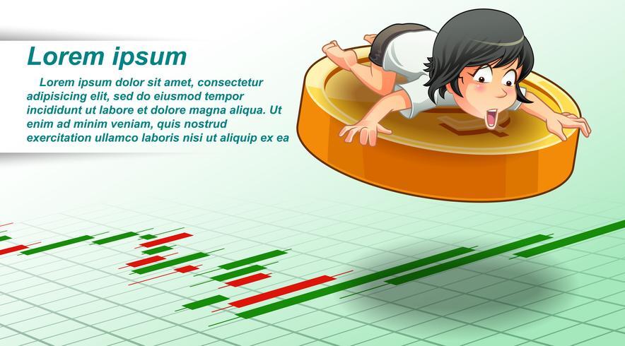 Investeringsconcept in beeldverhaalstijl. vector