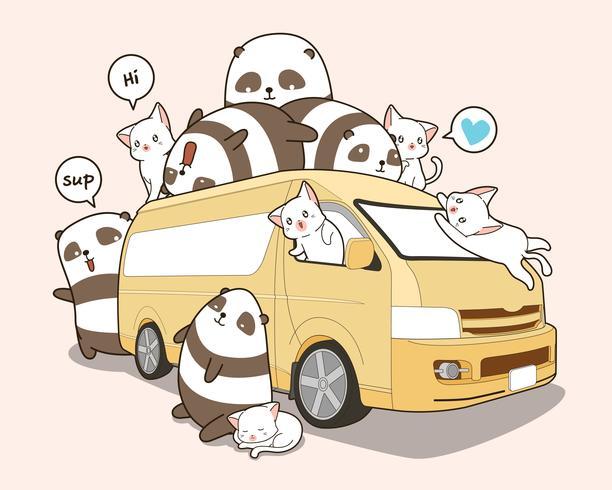 Leuke katten en panda en busje. vector