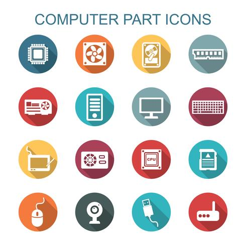 computer deel lange schaduw pictogrammen vector