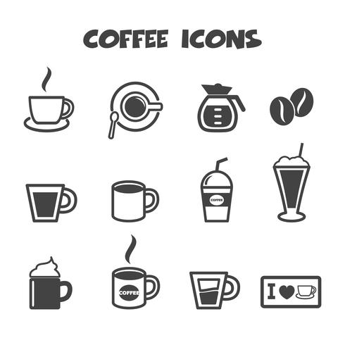 koffie pictogrammen symbool vector