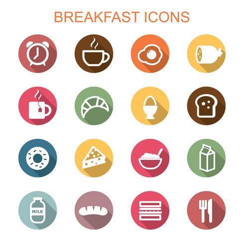 ontbijt lange schaduw pictogrammen vector
