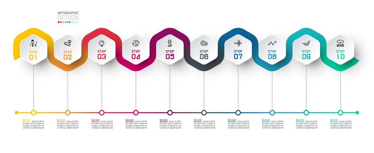 Hexagon-etiket met infographics van de kleurenlijn verbonden. vector