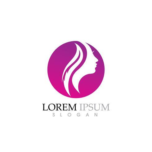 Schoonheid Vrouwen gezicht silhouet karakter Logo vector