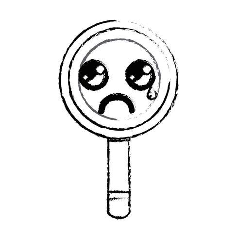 figuur kawaii schattig huilend vergrootglas vector