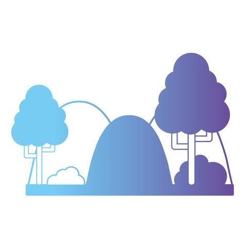 lijn mountainds met bomen en struiklandschap vector