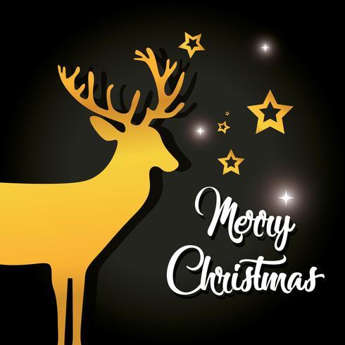 vrolijk kerst rendier met ster decoratie poster vector