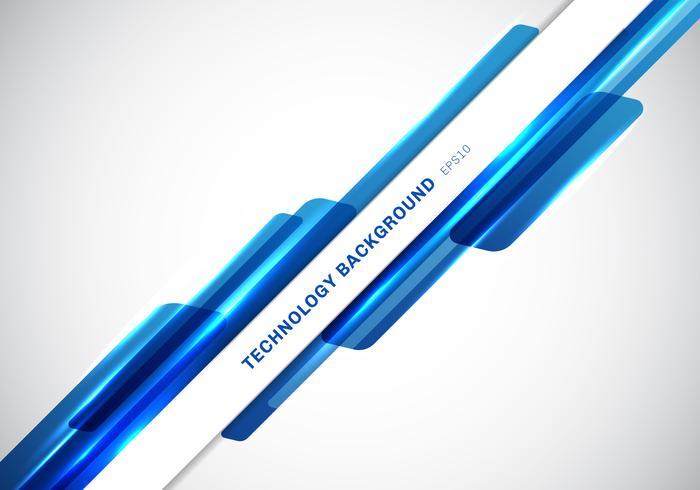 Abstracte kopbal blauwe glanzende geometrische vormen overlappende bewegende presentatie van de technologie futuristische stijl op witte achtergrond met exemplaarruimte. vector