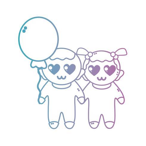 lijn schattige baby's samen met kapsel en ballon vector