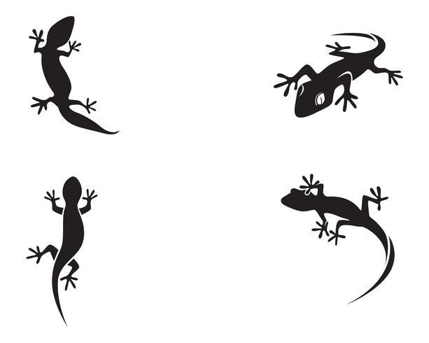 Hagedis Chameleon Gecko Silhouet zwarte vector