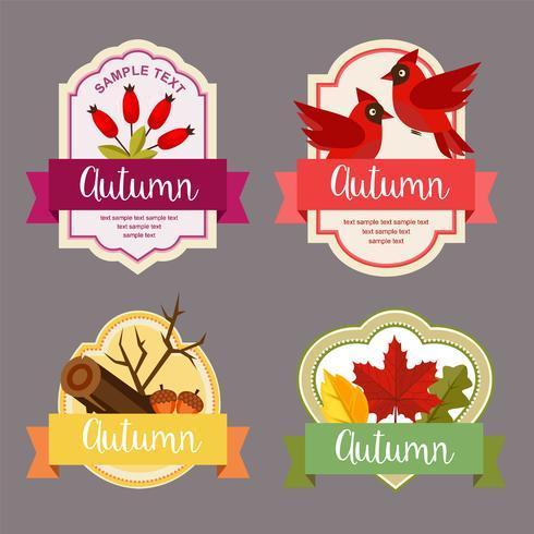 herfstbladeren vlakke stijl label met berberis element vector