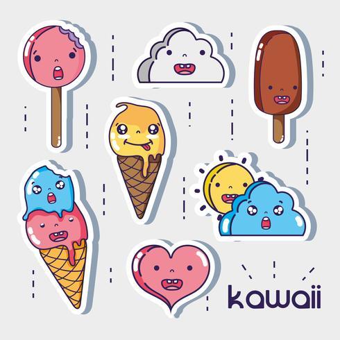 stel schattige kawaii gezichten uit vector