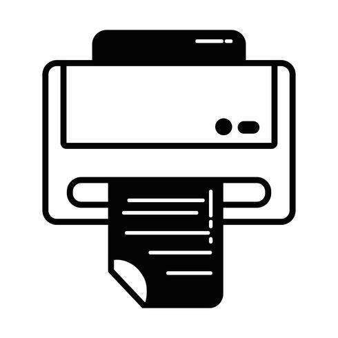 contour printer machine-technologie met bedrijfsdocument vector